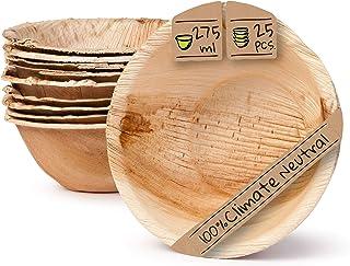 أدوات مائدة للاستعمال مرة واحدة صديقة للبيئة مصنوعة من أوراق النخيل | 25 قطعة من أوعية أوراق النخيل 275 مل دائرية 13,5 سم...