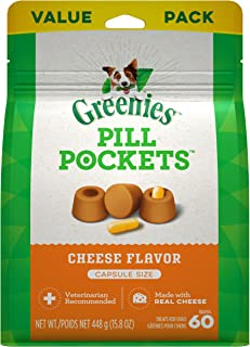 GREENIES Pill Pockets Natural Dog Treats, Capsule Size, Cheese Flavor