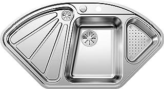 BLANCO Delta-IF, Eckspüle, Küchenspüle, für normalen und flächenbündigen Einbau, mit Ablauffernbedienung und mit Schale, Edelstahl Seidenglanz 523667