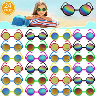 GINMIC Kids Sunglasses Party Favors, 24Pack 60's Style UV Protected Round Hippie Sunglasses in...