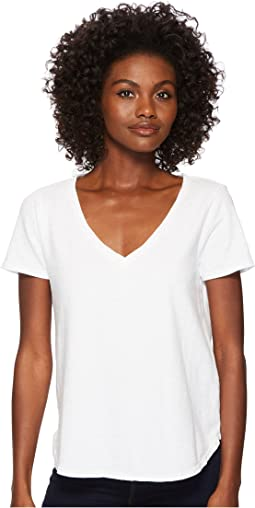 Sueded Slub Knit V-Neck Tee