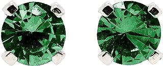 3mm Tiny Green Emerald Gemstone Stud Earrings in Sterling Silver - May Birthstone