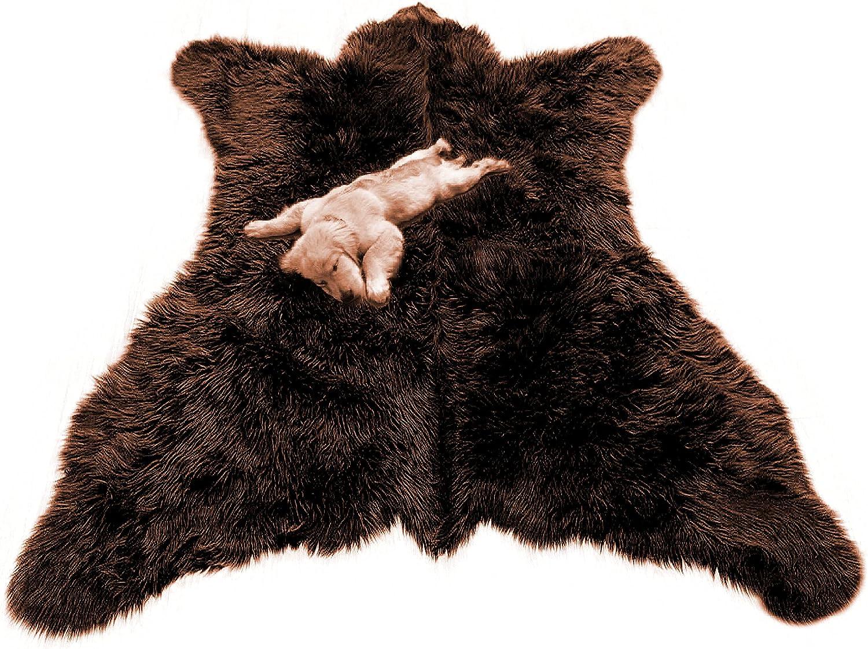 Plush Brown Faux Ranking TOP20 Fur Bear Skin Life Charlotte Mall Realistic Bonde Size Rug