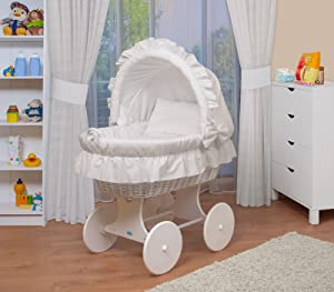 WALDIN Baby wicker cradle  Moses basket 6 models available white painted stand wheels textile colour white