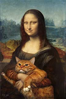 Zwhart HD Printed Oil Paintings Home Wall Decor Art on Canvas,Mona Lisa. Cat 5size#427 (Framed,24x36inch)