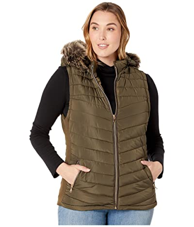 YMI Snobbish Plus Size Polyfill Puffer Vest with Faux Fur Trim Hood (Olive) Women