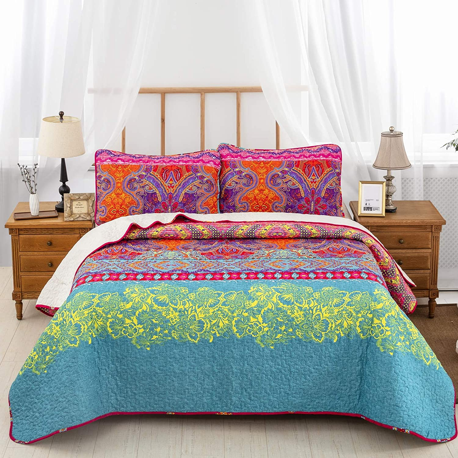 Bohemian Quilt King 3 Pieces Boho Coverlet Pill 70% OFF Outlet 2 with Set 5% OFF