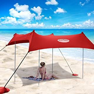 UMARDOO Family Beach Tent with 4 Aluminum Poles, Pop Up Beach Sunshade with Carrying Bag (Red, 10X9 FT)