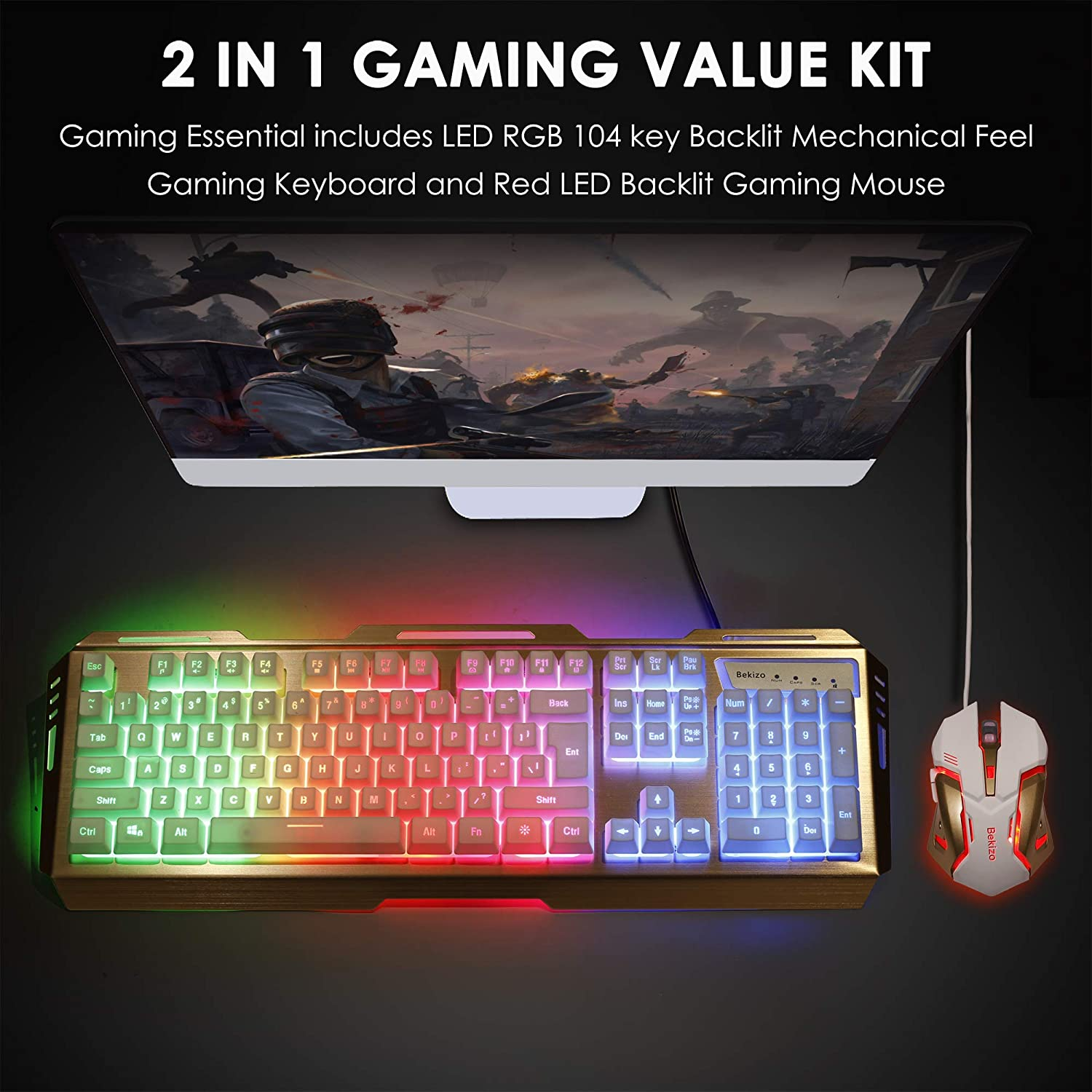 Rose Gold Gaming Keyboard Mouse Combo,Membrane Keyboard RGB Color Change Lighted Keyboard,PC Keyboard Computer Backlit USB Keyboard,Wired Gaming Keyboard,for Xbox One PS4 Game Gamer