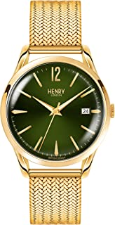 Henry London Ladies Analogue Chiswick Watch with Polished Gold Bracelet HL39-M-0102