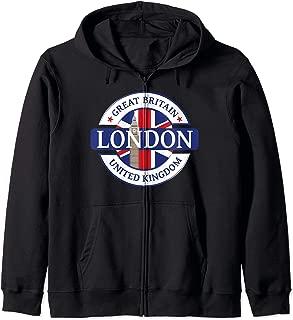 City UK Flag British Great Britain Zip Hoodie