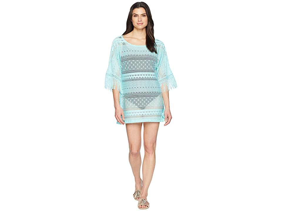 Kenneth Cole Tough Luxe Boat Neck Tunic Cover-Up (Aqua) Women