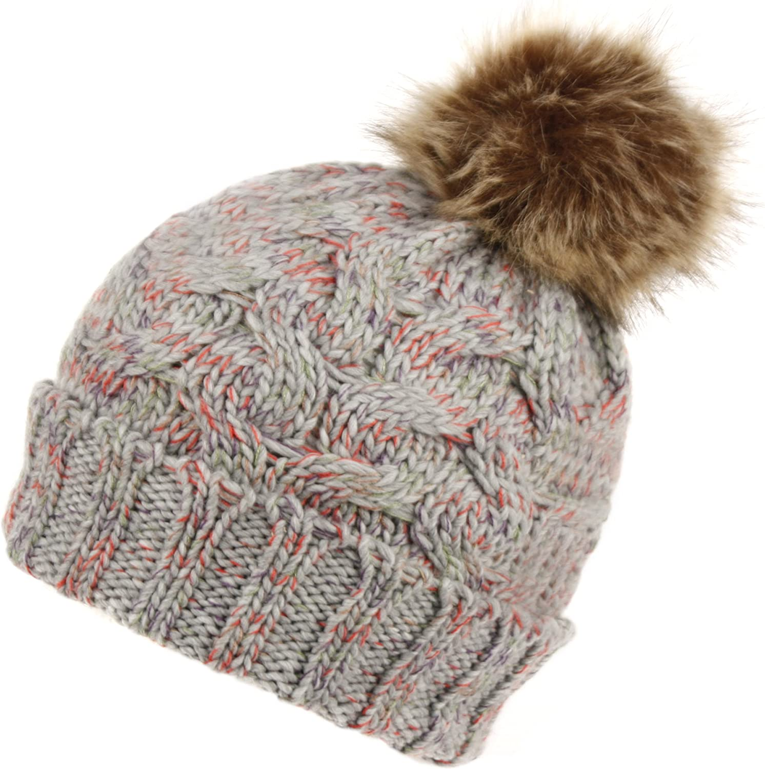 BN2375 Women's Winter Hand Knit Faux Fur Pompoms Beanie Hat