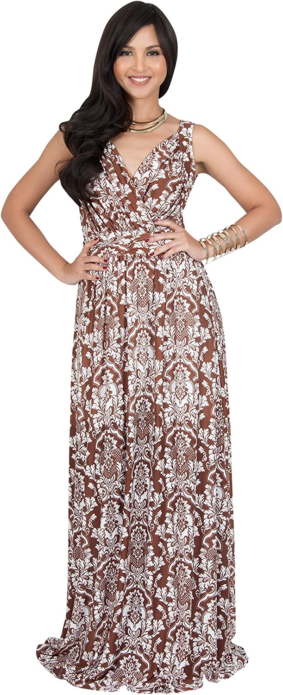 KOH KOH Womens Long Sleeveless V-Neck Casual Flowy Cute Summer Print Maxi Dress