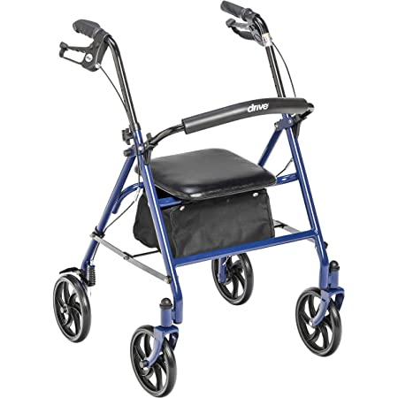 Drive Medical 10257BL-1 Four Wheel Walker Rollator with Fold Up Removable Back Support