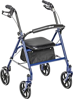 Drive Medical 10257BL-1 4-Wheel Rollator Walker With Seat & Removable Back Support, Blue
