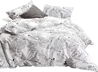 Wake In Cloud - Tree Comforter Set, 100% Cotton Fabric with Soft Microfiber Fill Bedding, Black Branches Leaves Pattern Printed on White (3pcs, Queen Size)
