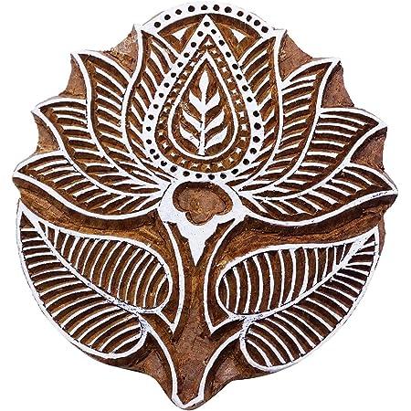 Antique Printing Block Decorative Block By 1 Piece Leaf Pattern Wooden Block PB3523A Textile Printing Block Hand Carved Printing Blocks