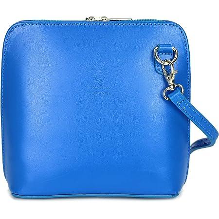 Belli italienische Ledertasche Damen Umhängetasche Handtasche Schultertasche - 17x16,5x8,5 cm (B x H x T) (Blau)