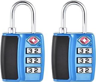 uxcell TSA Approved Luggage Lock 3 Digit Combination Travel Padlock Zinc Alloy Blue 60x31x11mm 2Pcs