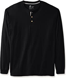 Men's Long-Sleeve Beefy Henley Shirt, Ebony, 2X Large