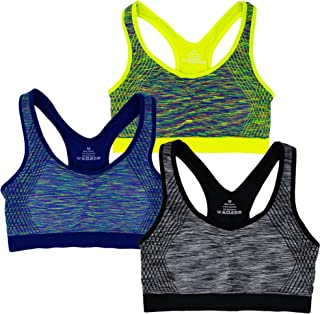 Capricia O'dare Women's Seamless Racerback Low Impact Sports Bra Wire-Free with Removable Cups (1 3 6 Pack)