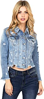 Cello Women's Crop Distressed & Frayed Jean Jacket