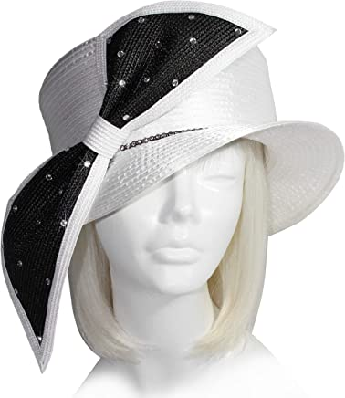 852ee0086a4c5 Mr. Song Millinery All-Season Classic Crown Small Brim Rhinestone Bias Bow  - Black