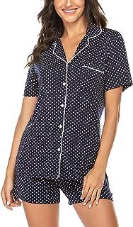 Ekouaer Pajama Set Women's Short Sleeve Sleepwear Soft Loungewear XS-XXL