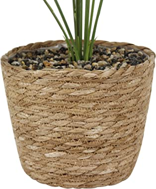 21/22 Inch Faux Plant in Basket/Artificial Plants with Rattan Baskets,Faux Monstera/Fake Green Plant in Wicker Basket for Hom