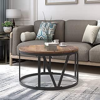 Round Wood Coffee Table Industrial Coffee Table with Metal Legs Round Rustic Wood Coffee Table for Living Room,Brown