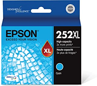 Epson T252XL220 252XL WorkForce WF-3620 3640 7110 7210 7610 7620 7710 7720 Ink Cartridge (Cyan) in Retial Packaging