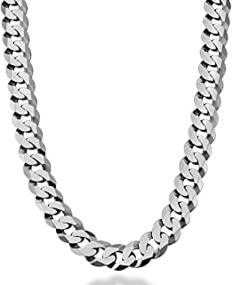 Miabella Solid 925 Sterling Silver Italian 12mm Solid Diamond-Cut Cuban Link Curb Chain Necklace for Men, 18, 20, 22, 24, 26, 28 Inch Made in Italy