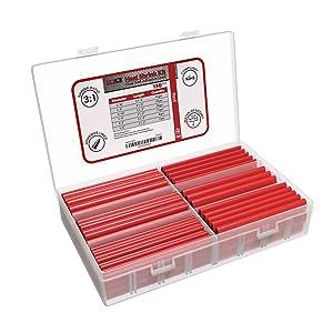 130 PC. Dual Wall Adhesive Marine Heat Shrink Kit - 3:1 Shrink Ratio - Red
