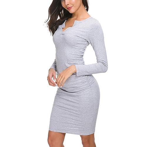 eecfdde52006 Missufe Women s Cute V Neck Casual Ruched Sundress Sheath Knee Length  Bodycon Dress