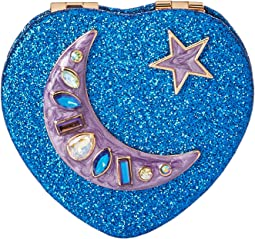 Blue Ombre Glitter Moon Heart Compact in a Betsey Johnson Pouch