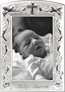 Malden International Designs Baby Baptism Two-Tone Picture Frame, 4x6, Silver