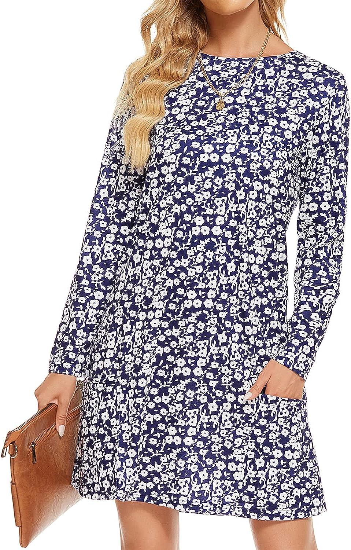 Lyrur Long Sleeve Dress Crewneck Womens Midi Fall Loose Shift Casual T Shirt Wedding Guest Dresses with Pockets