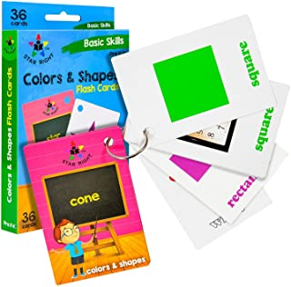 Star Right Colors and Shapes Flash Cards with Pictures, 36 Cards, with 1 Ring, for Ages Pre-K & K