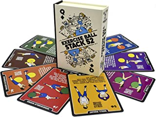 Stack 52 Oefening Ball Fitness Cards. Swiss Ball Workout speelkaartspel. Inclusief video-instructies. Lichaamsgewicht Trai...