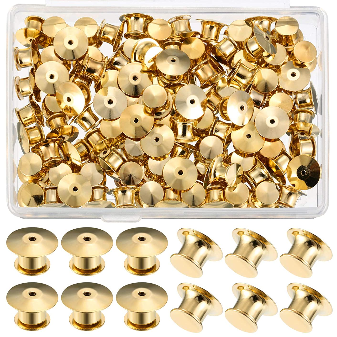 Mudder Locking Pin Keepers Backs, No Tool Required(Gold, 100 Pieces)
