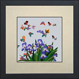 king Silk Art 100% Handmade Embroidery Mixed Group Feng Shui Butterflies in Blue Irises Large Framed Wildlife Butterfly Painting Birthday Party Gift Oriental Asian Wall Art Décor Artwork Hanging Picture Gallery 33006WFG