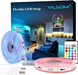 LED Strip Lights, ViLSOM 20ft USB RGB Led Light Strip Kit with Remote, SMD 5050 LED Color Changing Rope Lights for 40-100in TV Backlight, Bedroom, Room, Party, DIY Home Decorations