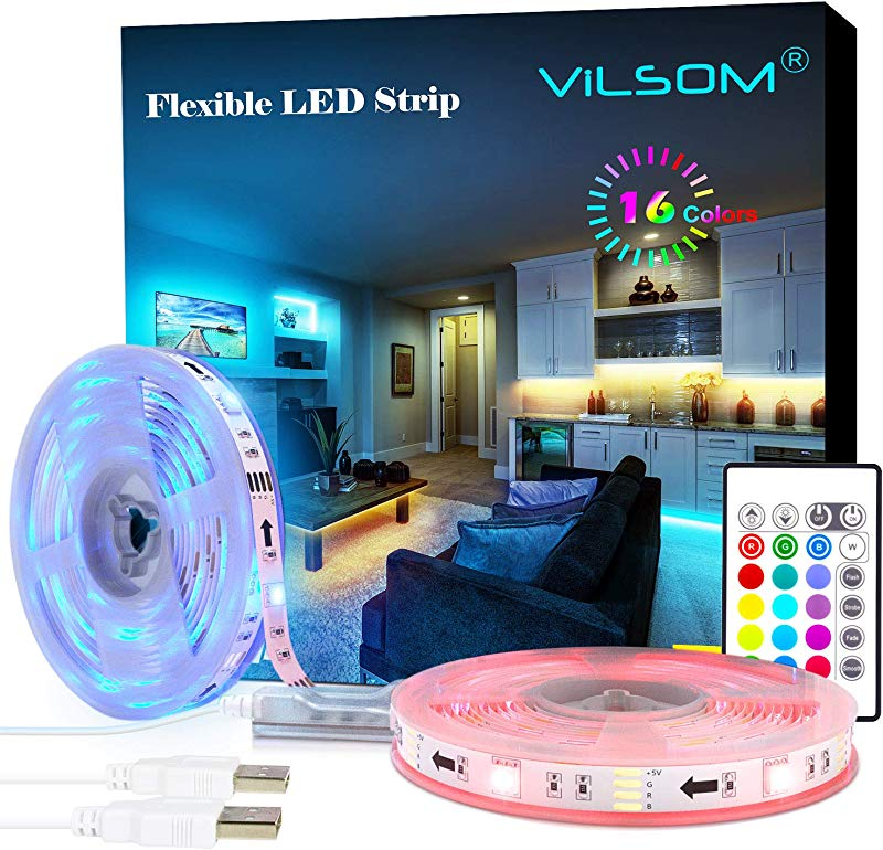 LED Strip Lights ViLSOM 19 7ft USB LED Lights With Remote RGB 5050 Color Changing Rope Lights For 40 100in TV Backlight Bed Room Party DIY Home Decoration