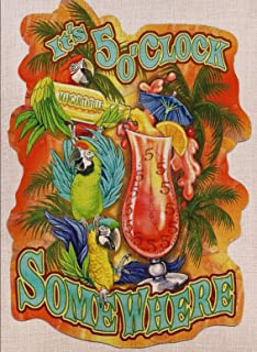 Selmad Summer 5 O'Clock Somewhere Garden Flag Parrot Margarita Double Sided, Tropical Palm Burlap Decorative House Yard Decoration, Funny Party Quote Nautical Beach Seasonal Outdoor Décor 12 x 18