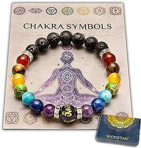 Doppio 7 chakra Bracciale Yoga Reiki. Energia Guarigione Equilibrio Bracciale Gioielli