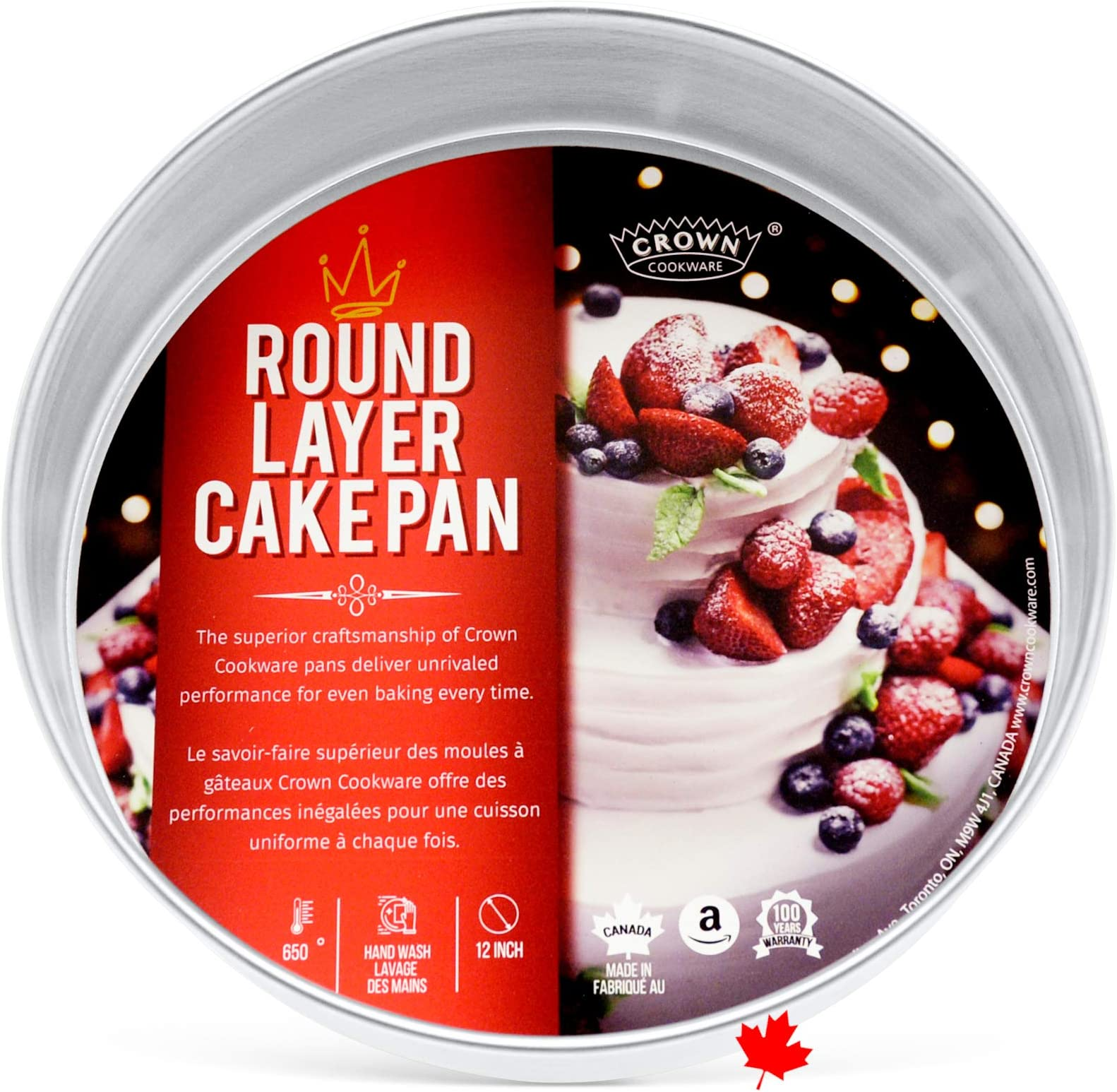 """Crown 12 inch Round Cake Pan, 2"""" Deep, Heavy Duty, Even-Heating, Pure Aluminum, Made in Canada"""