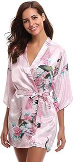 Aibrou Kimono Mujer Bata Corto Sexy y Elegante con Pavo & Flores Pijamas Albornozes Camison Mujer Suave,Cómodo,Sedoso y Ag...