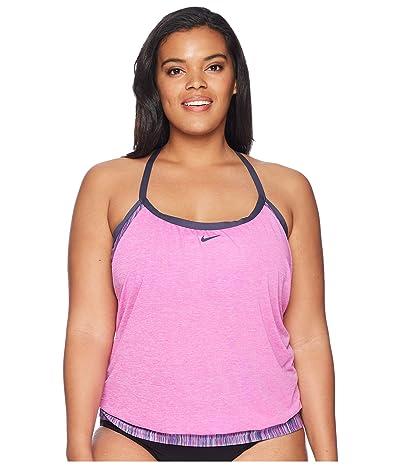 Nike Plus Size Layered Sport Tankini (Fuchsia Blast) Women