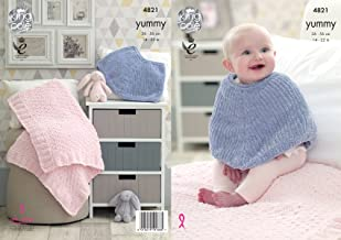 King Cole Knitting Pattern Baby Poncho Cape & Comfort Blanket Yummy Chunky (4821)